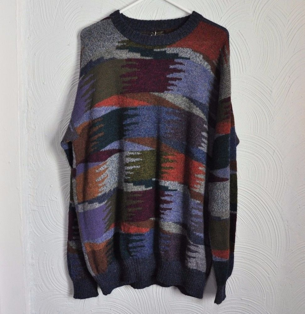 Perez 100 Baby Alpaca Wool Sweater Earthy Geometric Design Peru Mens Xl Nwot Alpaca Wool Sweater Sweaters Wool Sweaters