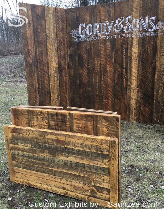 Wood Trade Show Booth : Saunzee custom aged barn wood trade show booths exhibits rustic wood