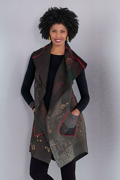 Ombre+Patched+Gold+Stamp+Vest+-+Gray by Mieko+Mintz: Cotton+Vest available at www.artfulhome.com