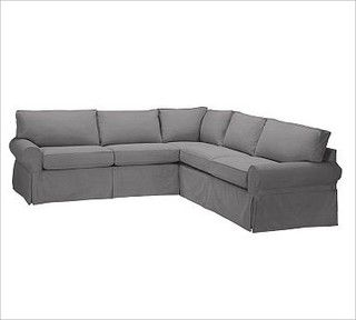 PB Basic Sectional 2-Piece L-Shape Sectional Slipcover, Box ...