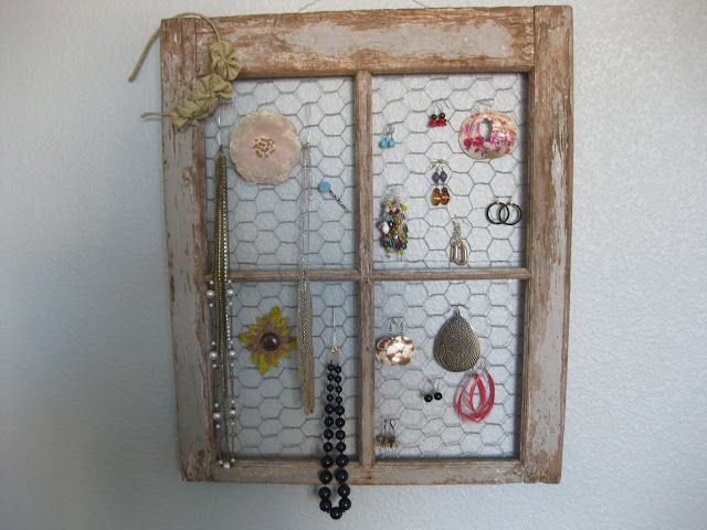 Old Frame, some chicken wire and ... voila - Jewelry Organization ...