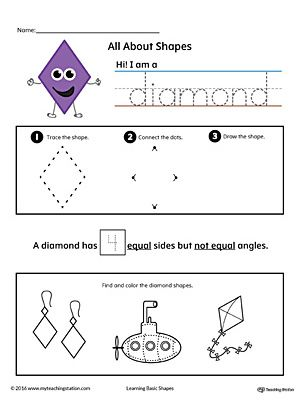 All About Diamond Shapes In Color Shapes Worksheets Shape Worksheets For Preschool Shapes Preschool Diamond shapes worksheets kindergarten