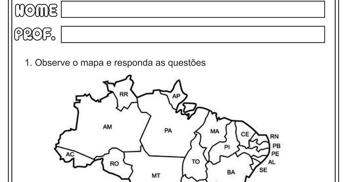 Atividades Estados Capitais E Regioes Do Brasil Geografia