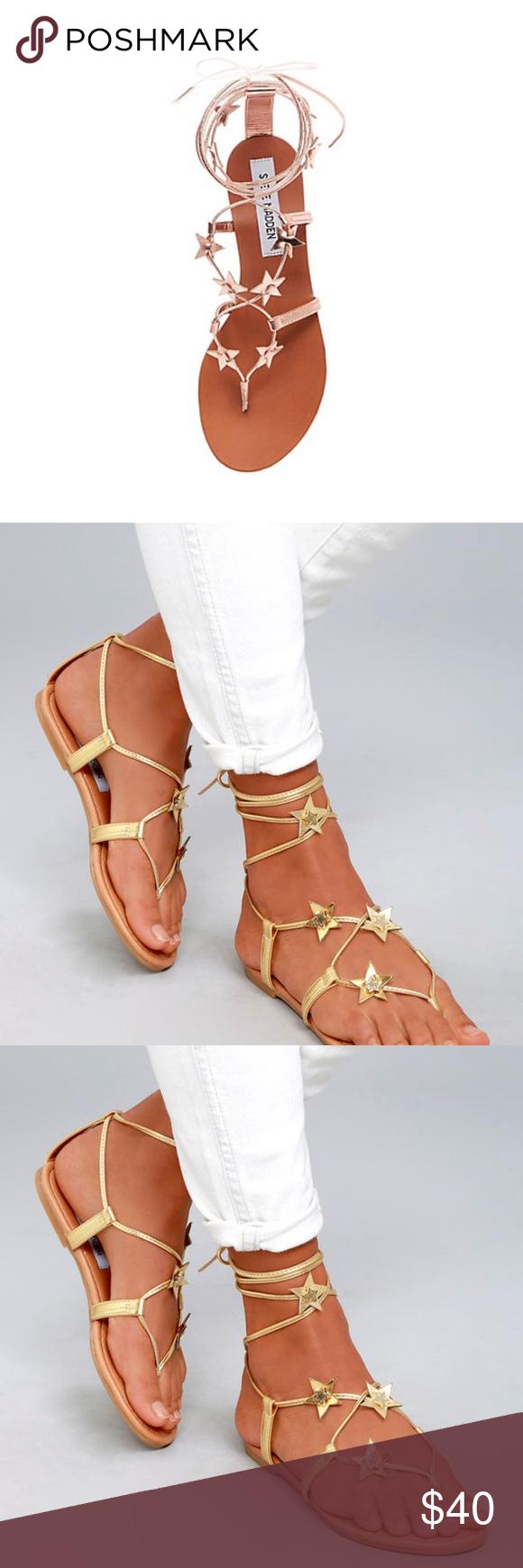 d9d22424e0cd Steve Madden Lace Up Sandals Steve Madden Jupiter Gold Lace-Up Sandals - SOLD  OUT