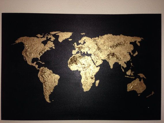 Original world map painting acrylic world map map art for Maison du monde globe