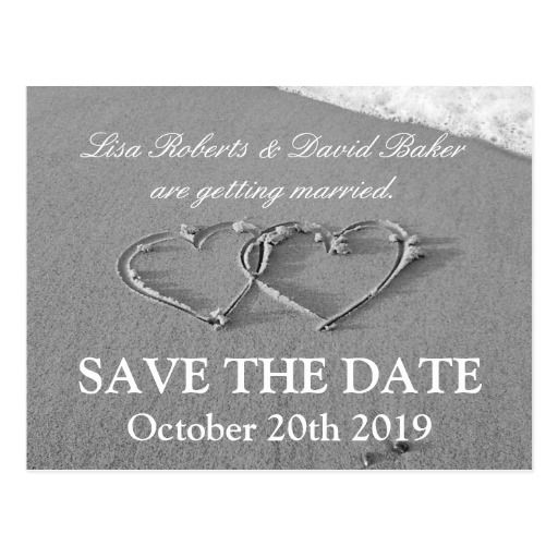 Save The Date Wedding Postcard  Beach Theme  Beach Themed