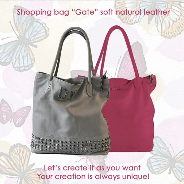 """Shopper bag """"Gate"""" natural leather Eighteen color for your creation always unique"""