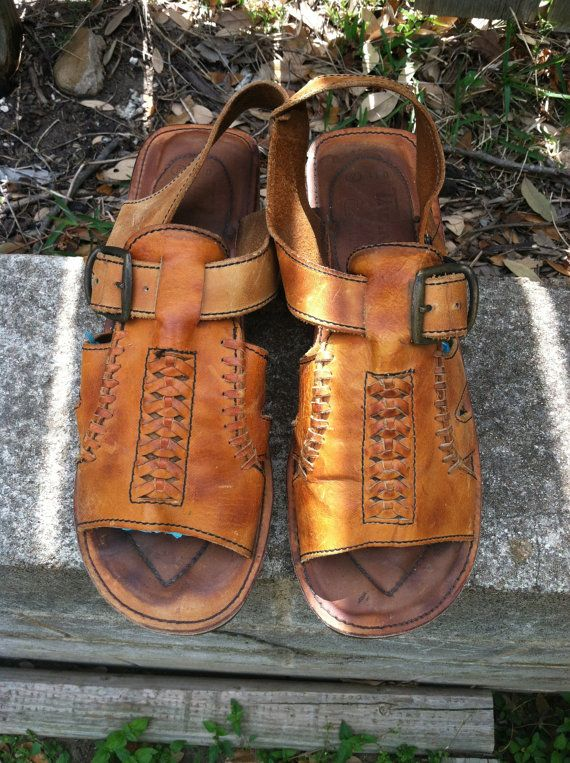 bc4b8836328 1970s men s Thom McAn tan leather hippie sandals with wooden sole on Etsy