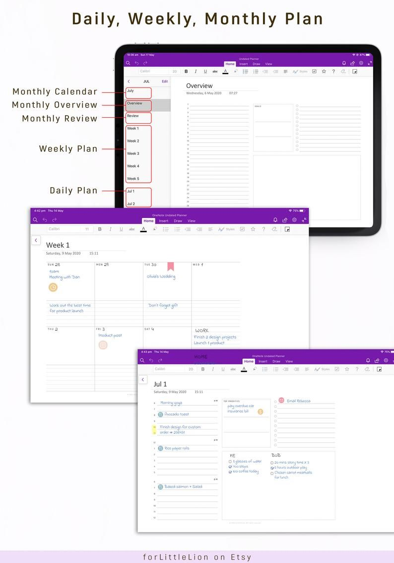 Onenote Digital Planner Undated With Hyperlinks One Note Digital Planner Android Ipad Windows Pc Mac Surface Pro Onenote Planner Digital Planner Notes Planner Notes Plan Microsoft office templates for mac