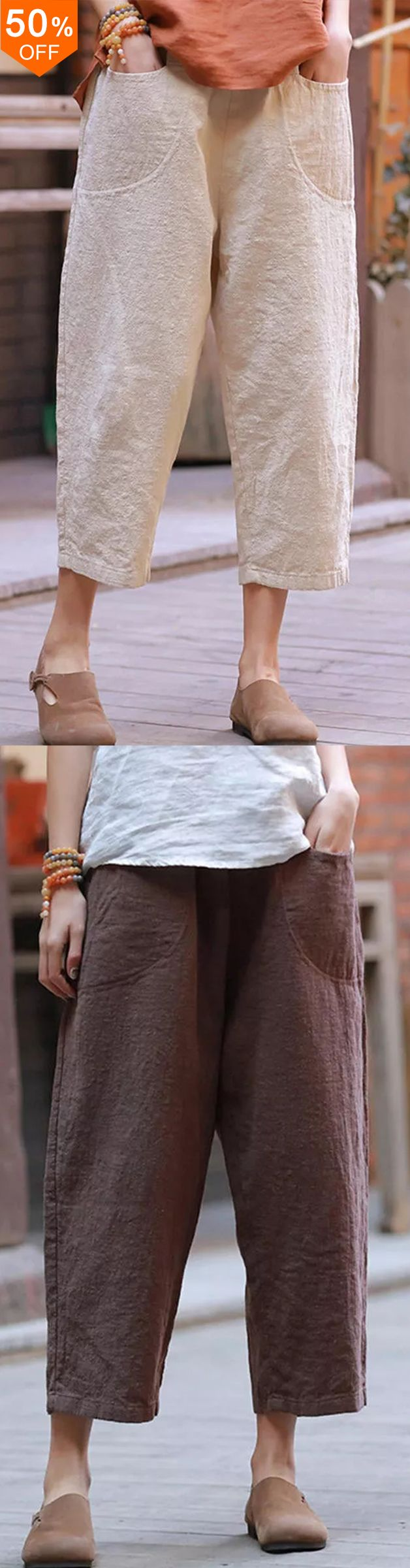 Photo of Casual Solid Color Elastic Waist Trouser Pants