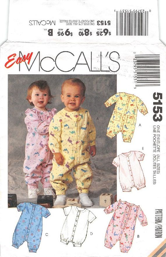 Infant Mccalls 5153 Infant Jumpsuit And Romper Sewing Pattern