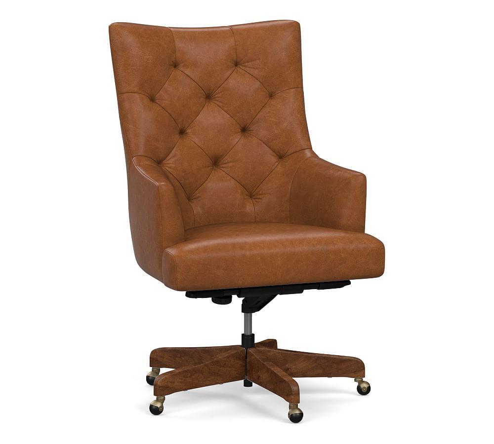 Radcliffe Leather Desk Chair Gray Wash Base Burnished Saddle