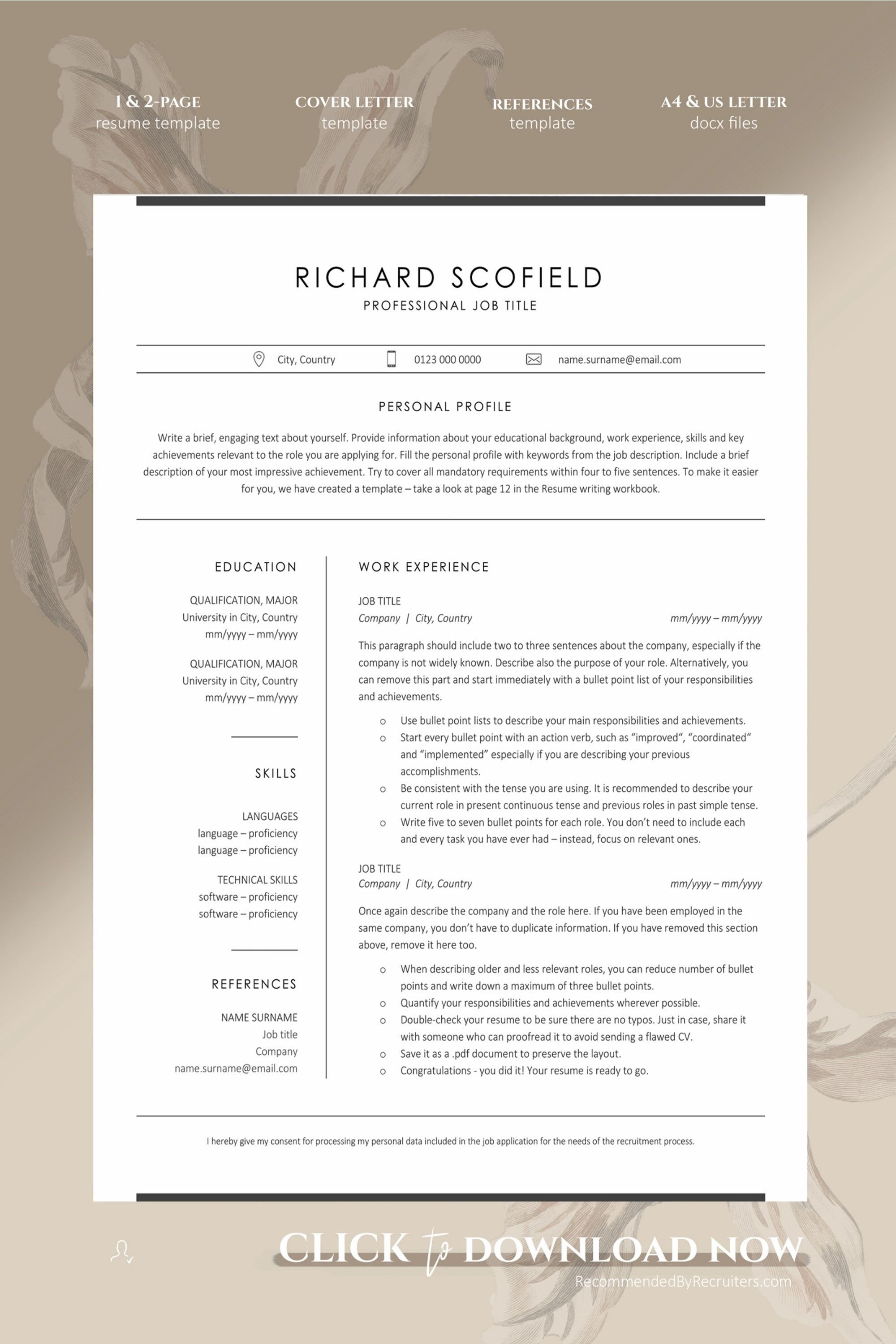 Modern Resume Template with Icons, Resume Template for
