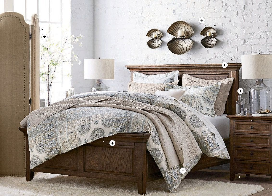Hudson Bedroom Collection And Nightstand In Hewn Oak, Leuda Gold Fan  Candleholders, Diane Room