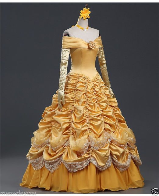 Belle Adult Costume Beauty and The Beast Dress Cloak Princess Prom Ball Gown d8562215b6f4