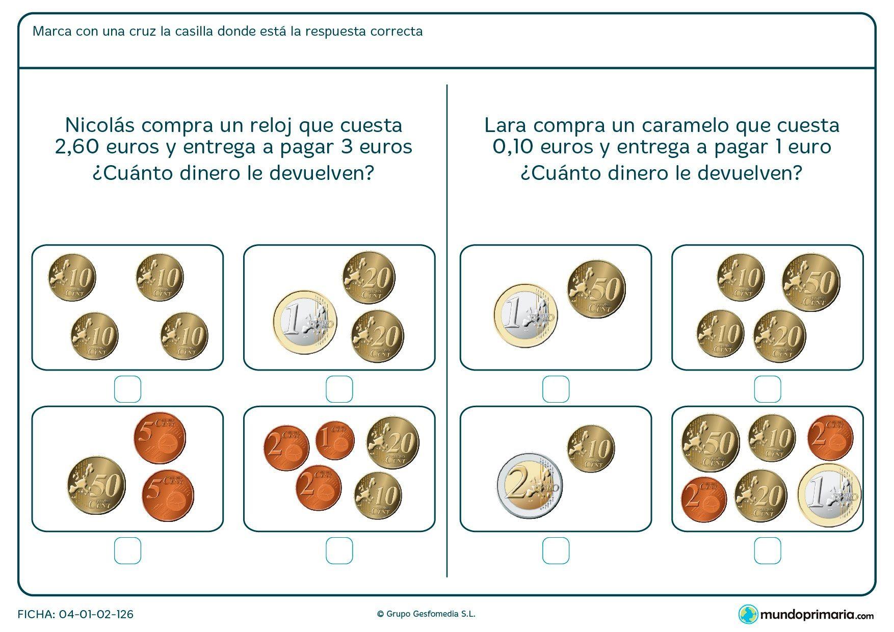 Fichas Para Imprimir Para Niños De Primaria Actividades De Dinero Fichas Fichas De Matematicas