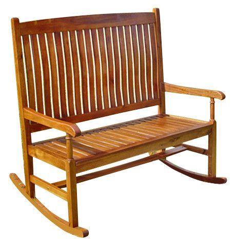 Highland Acacia 2 Seater Rocking Bench Rocking Bench Outdoor Rocking Chairs Rocking Chair