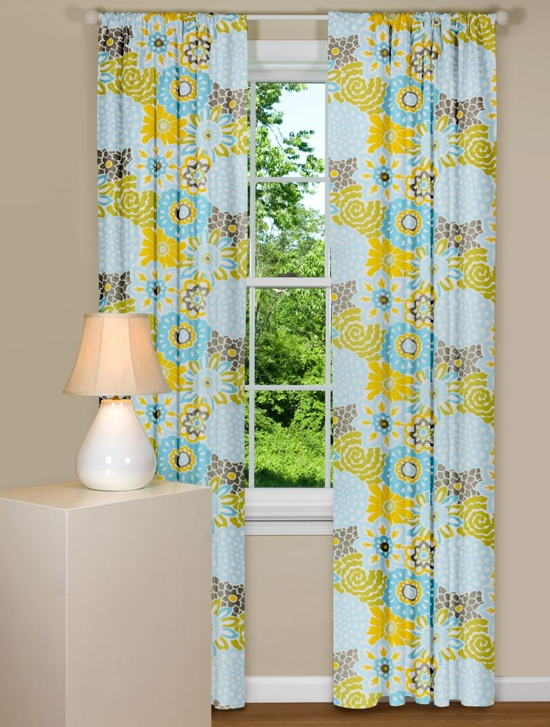 Window Curtain With Floral Design In Blue Yellow And Grey Curtains Living Room Contemporary Curtains Modern Curtains
