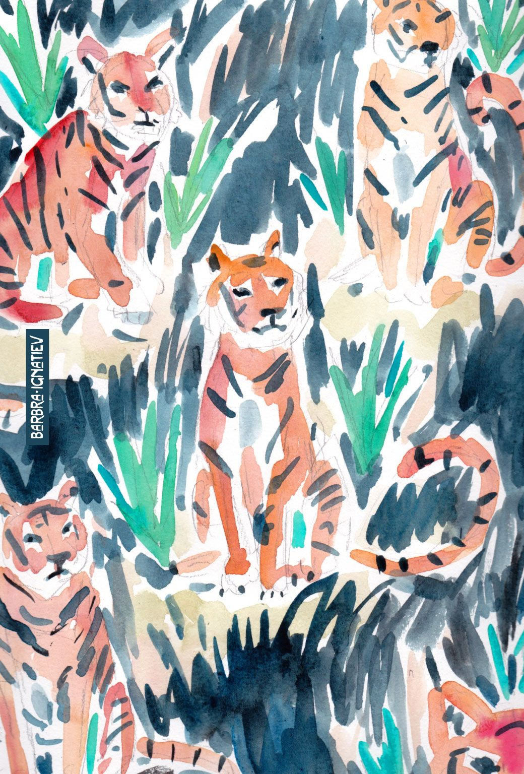 Sitting Tigers Art Prints Art
