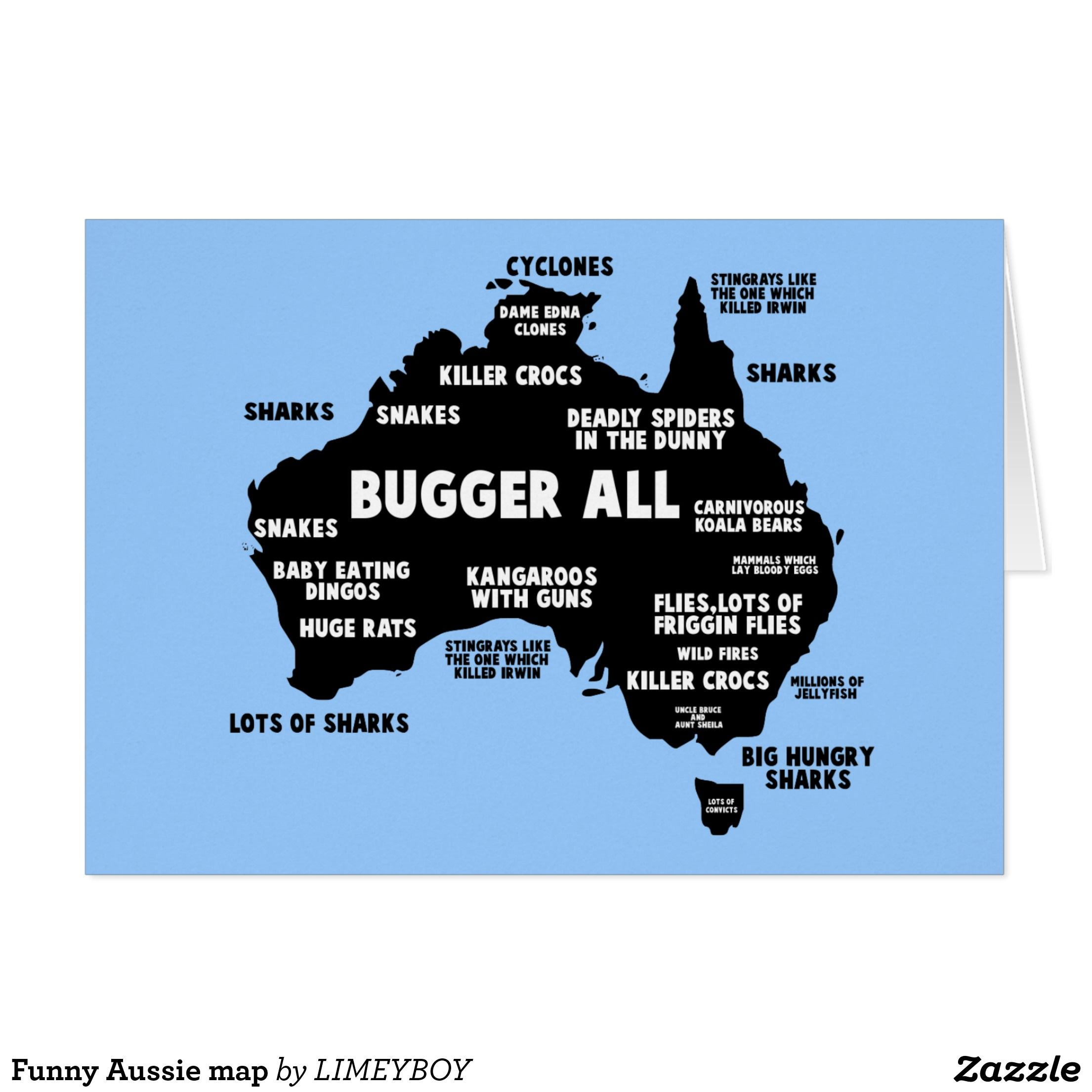 Map Of Australia Funny.Funny Aussie Map Card Zazzle Com Au Mojo Australia Map