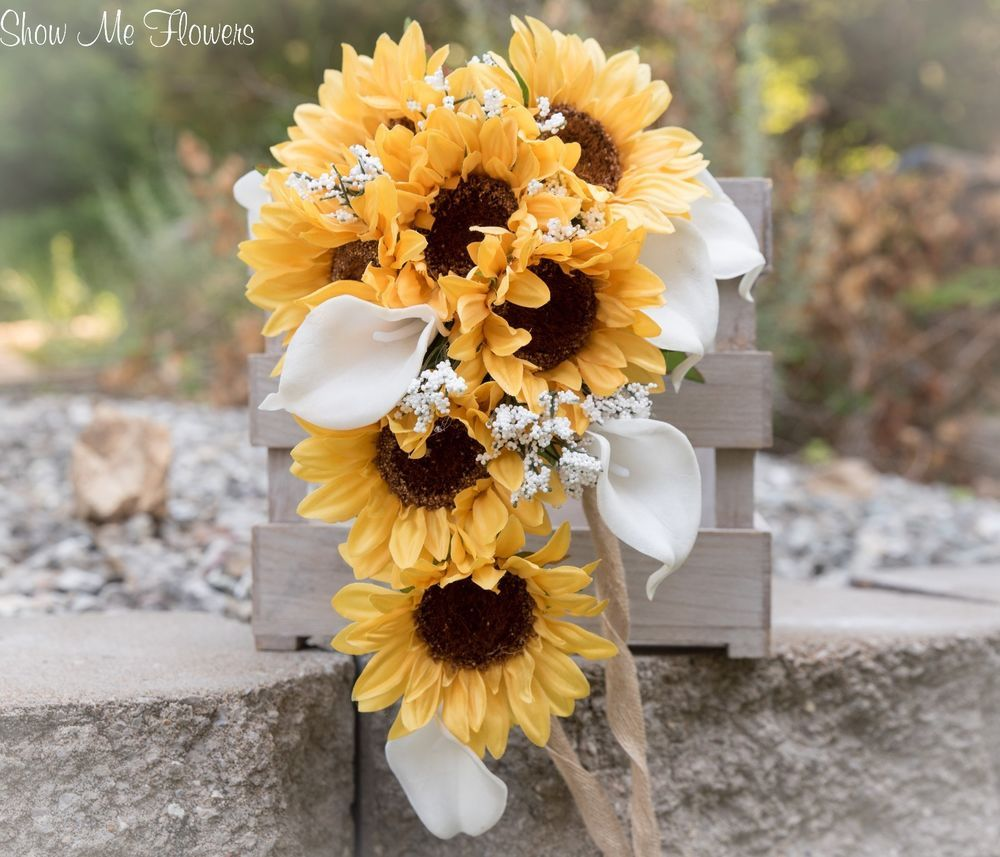 Beautiful yellow sunflower, white real touch calla lily