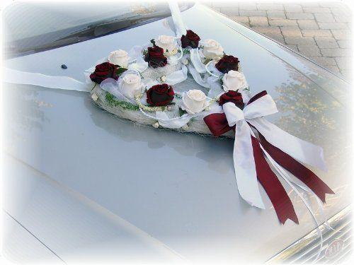 4x Rattan Gesteck cremefarbenen Rosen Hochzeits Dekoration fürs Braut Auto Car