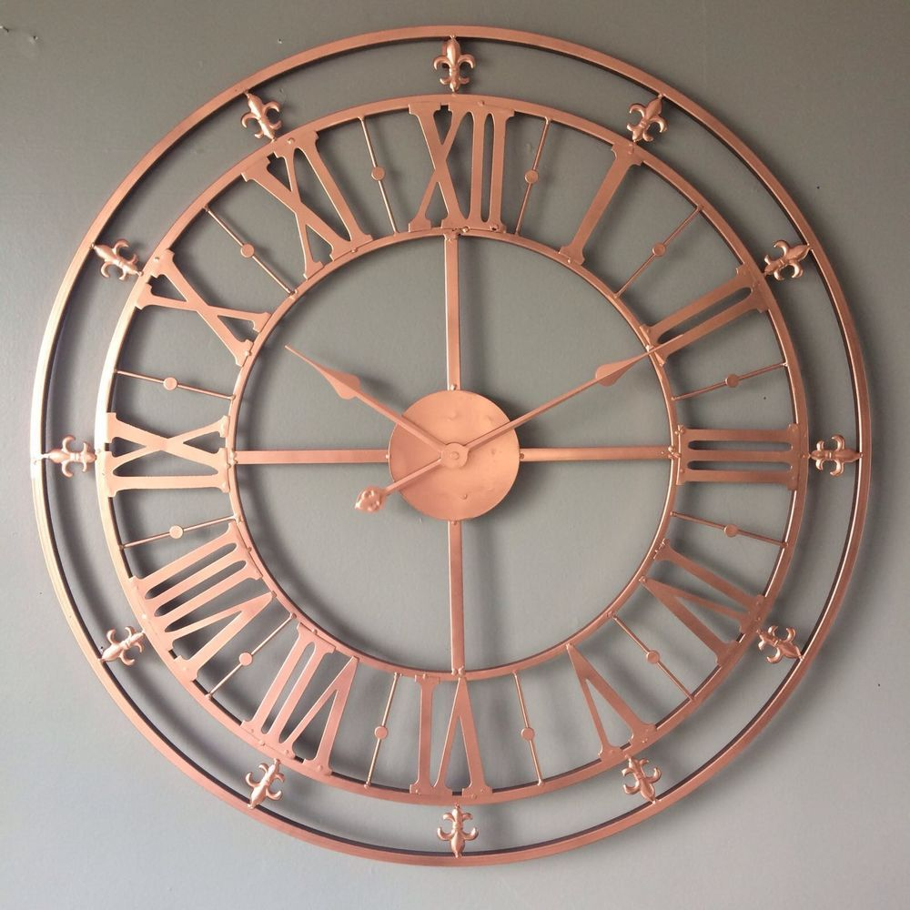 Large Bright Copper Rose Gold Skeleton Wall Clock Roman Numerals Metal 76cm Home Furniture Diy Clocks Wall Skeleton Wall Clock Clock Gold Wall Clock