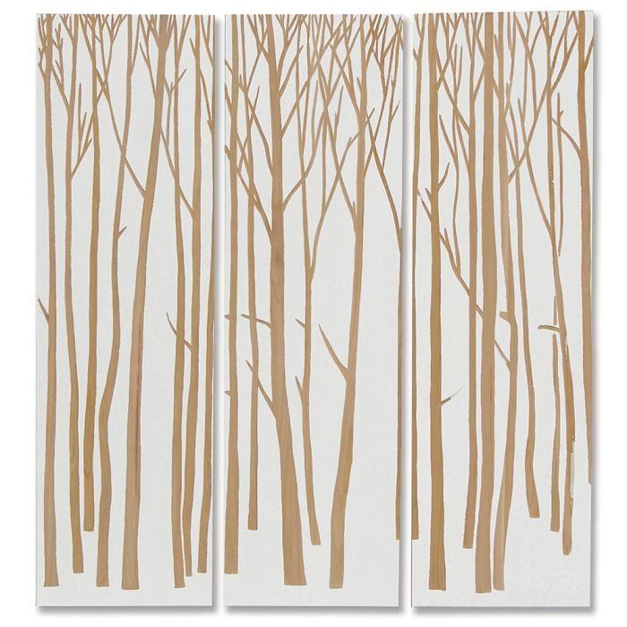 Palecek Birch Forest Wall Decor White Set Of 3 Modern