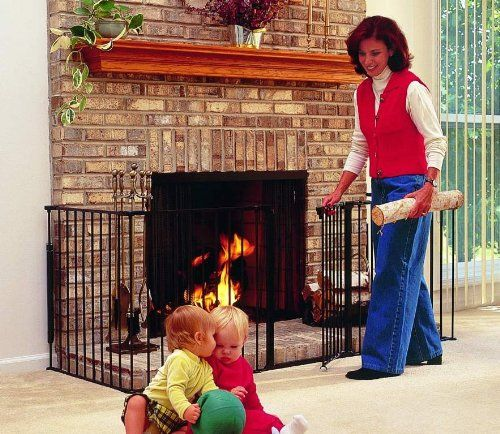 Kidco Hearth Gate Offers Protection From The Heat And Fire Of Fireplaces Wood Burning Stoves Barbecues In Addition To Dangers Sharp Corners