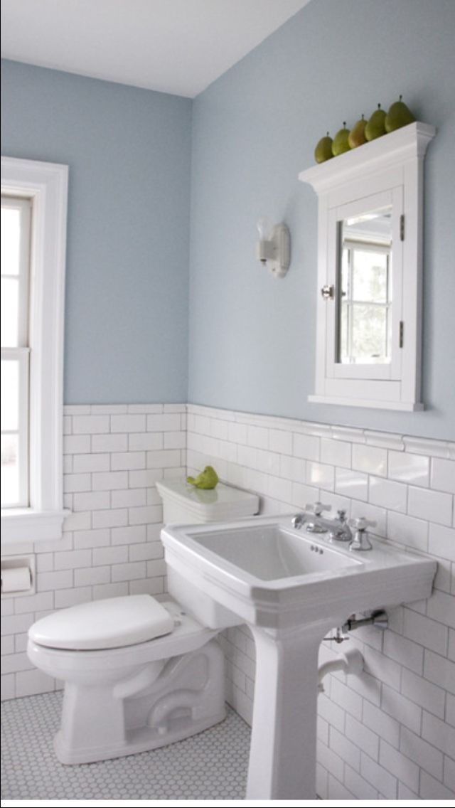 floors and subway tile wainscoting home powder room in 11727