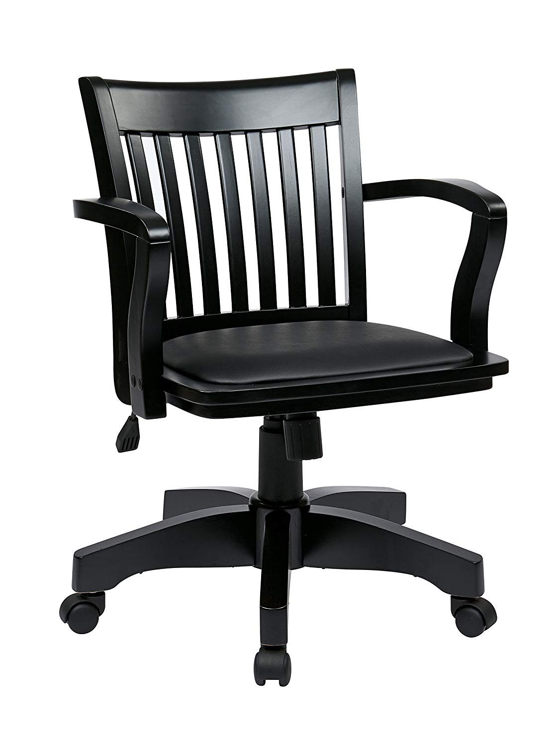 Wood bankers desk chair with vinyl seat