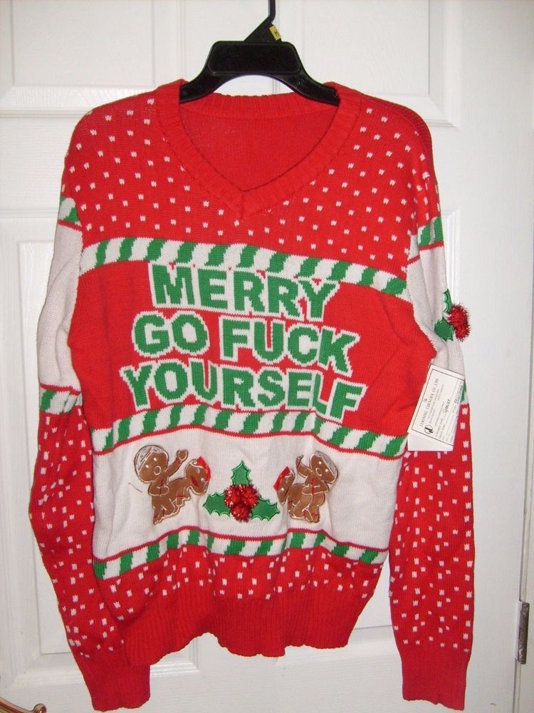 Spencers Ugly Christmas Sweaters.Ugly Christmas Sweater Adult Humor Merry Go F Yourself