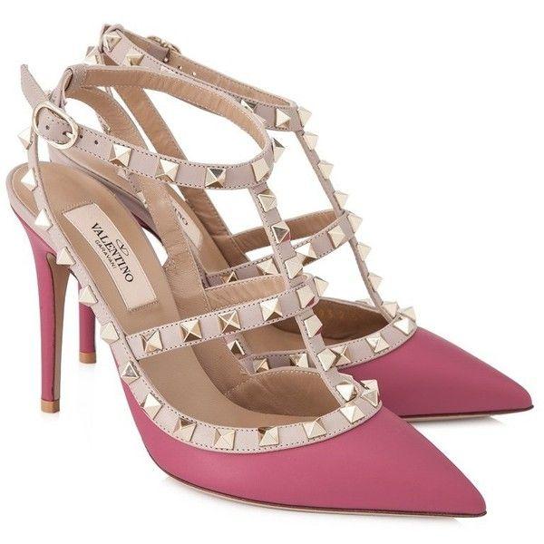 3b8800eecfaa Valentino Garavani Rockstud Ankle Strap Heels ( 850) ❤ liked on Polyvore  featuring shoes