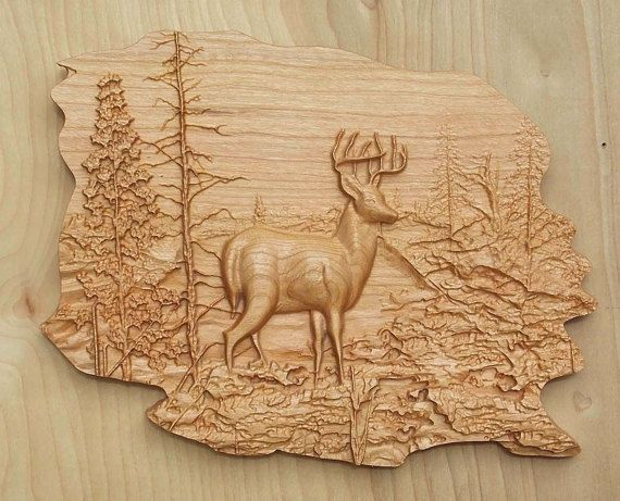 Deer wood carving decor wall art by