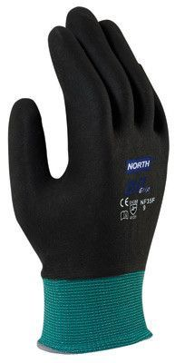 North by Honeywell X-Large NorthFlex Oil Grip 13 Gauge Cut Resistant Black Nitrile Palm Coated Work Gloves With Dark Green Seamless Nylon Liner And Knit Wrist