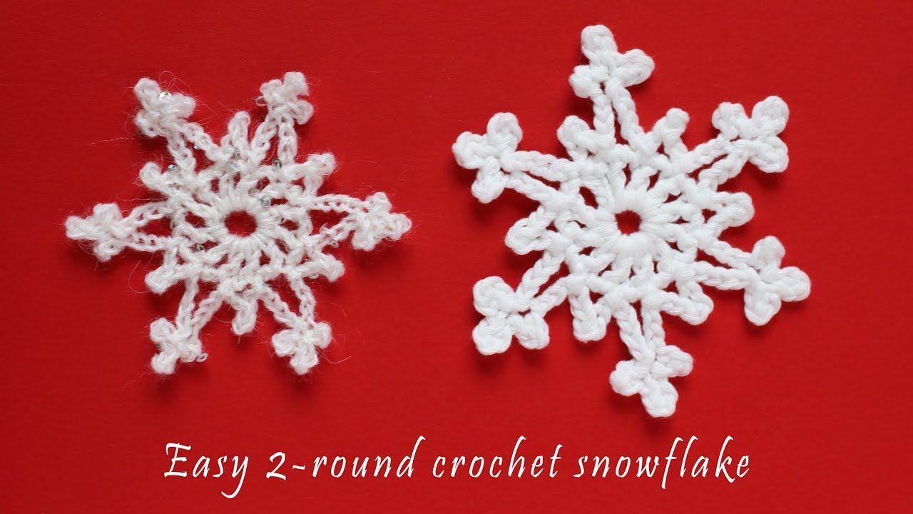 Easy 2 Round Crochet Snowflake Tutorial Youtube Crochet Snowflakes Crochet Snowflake Pattern Free Crochet Snowflake Patterns
