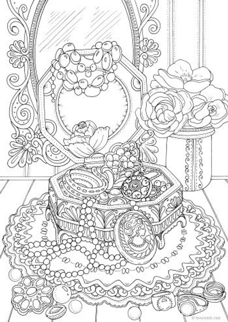 Jewelry Box Printable Adult Coloring Page From Favoreads