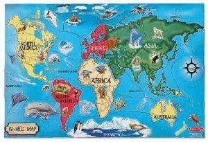 Amazon.com: Melissa & Doug World Map 33 pcs Floor Puzzle: Toys & Games