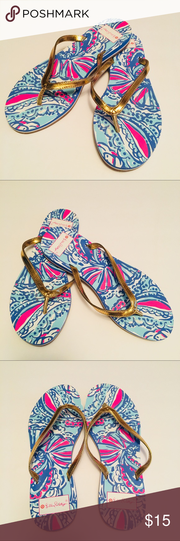 e76745f3afc1 Lilly Pulitzer for Target Sea Shell print sandals Iconic Lilly Pulitzer  sandal flip flops to relax by the pool or beach. Lilly Pulitzer for Target  Shoes ...