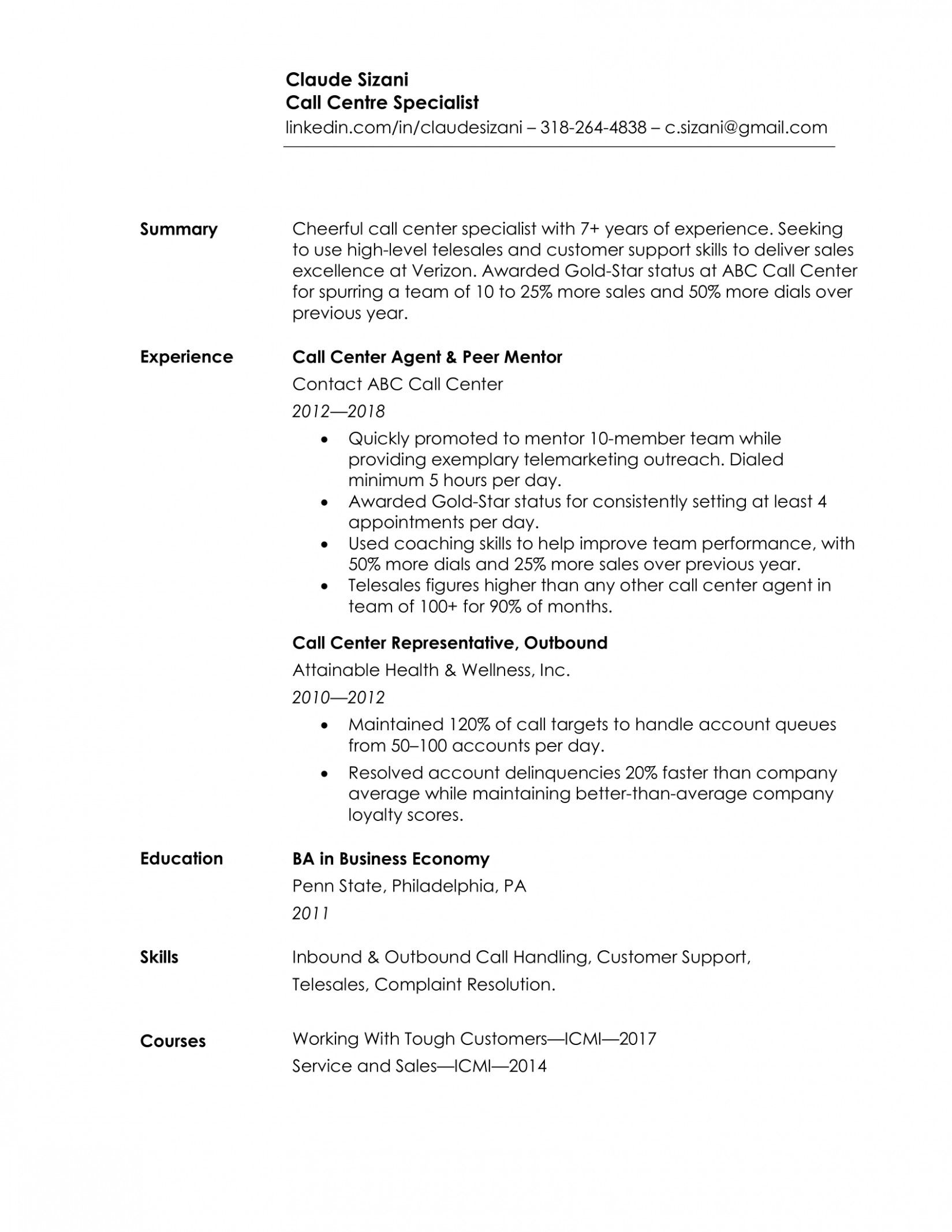 10 Most Easy Resume Format