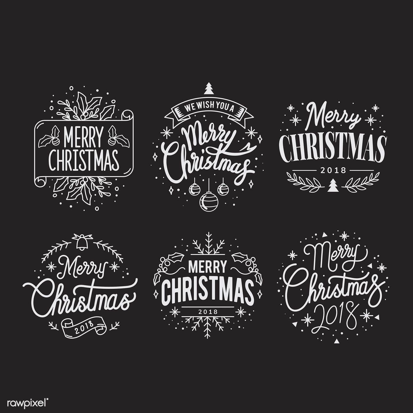 Set Of Christmas Greeting Badge Vectors Free Image By Rawpixel