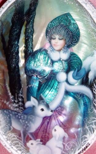 Russian lacquer miniature painted on mother of pearl. Snegurochka (Snow Maiden) with her forest friends.