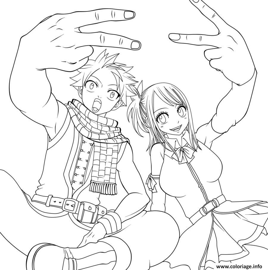 Coloriage Fairy Tail Natsu And Lucy A Imprimer Coloriage Fairy