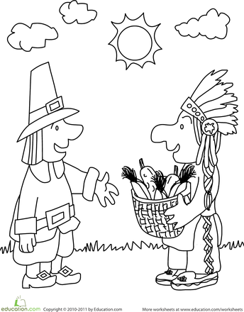 Worksheets First Thanksgiving Coloring Page