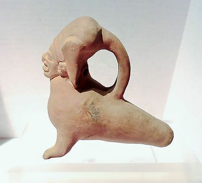 PRE COLUMBIAN ECUADOR AUTHENTIC FIGURAL POTTERY  WHISTLE OCARINA JAMACOAQUE LG  <br/>The Americas - 37908