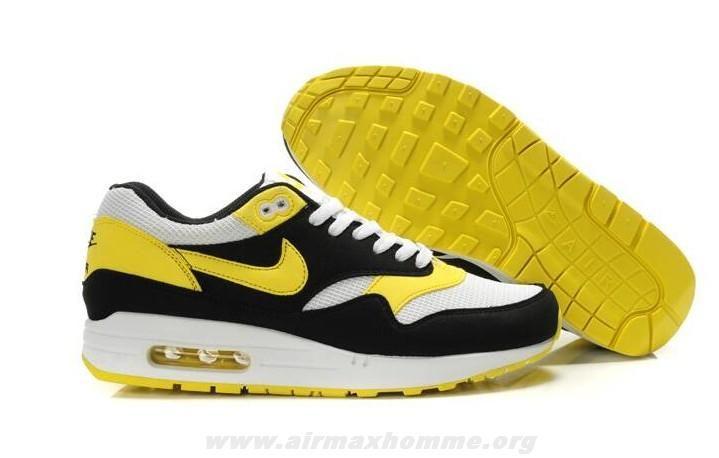 brand new a3a94 06958 2014 Nike Air Max 1 433212-107 Blanc Varsity Maize Noir Hommes