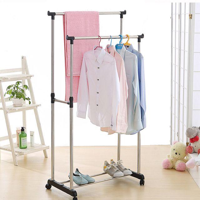Ikayaa Us Uk Fr Stock Garment Rack Steel Double Rail Clothes Garment Dress Hanging Rack Display Organi Rolling Clothes Rack Clothing Rack Hanging Clothes Racks