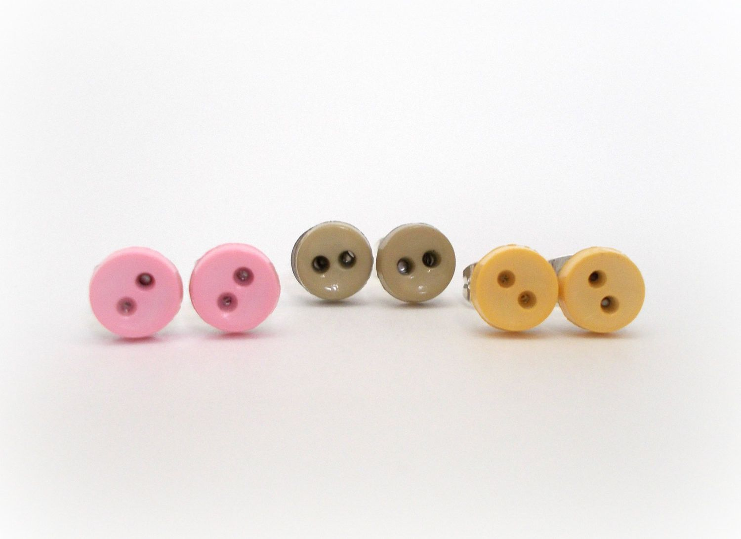 yellow pink gray set of 3 button earrings for sensitive ears