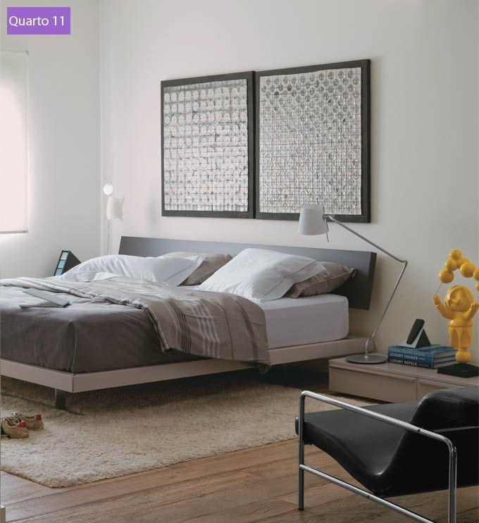 A cama parece flutuar ao lado dos criados-mudos baixinhos ( Collectanea)