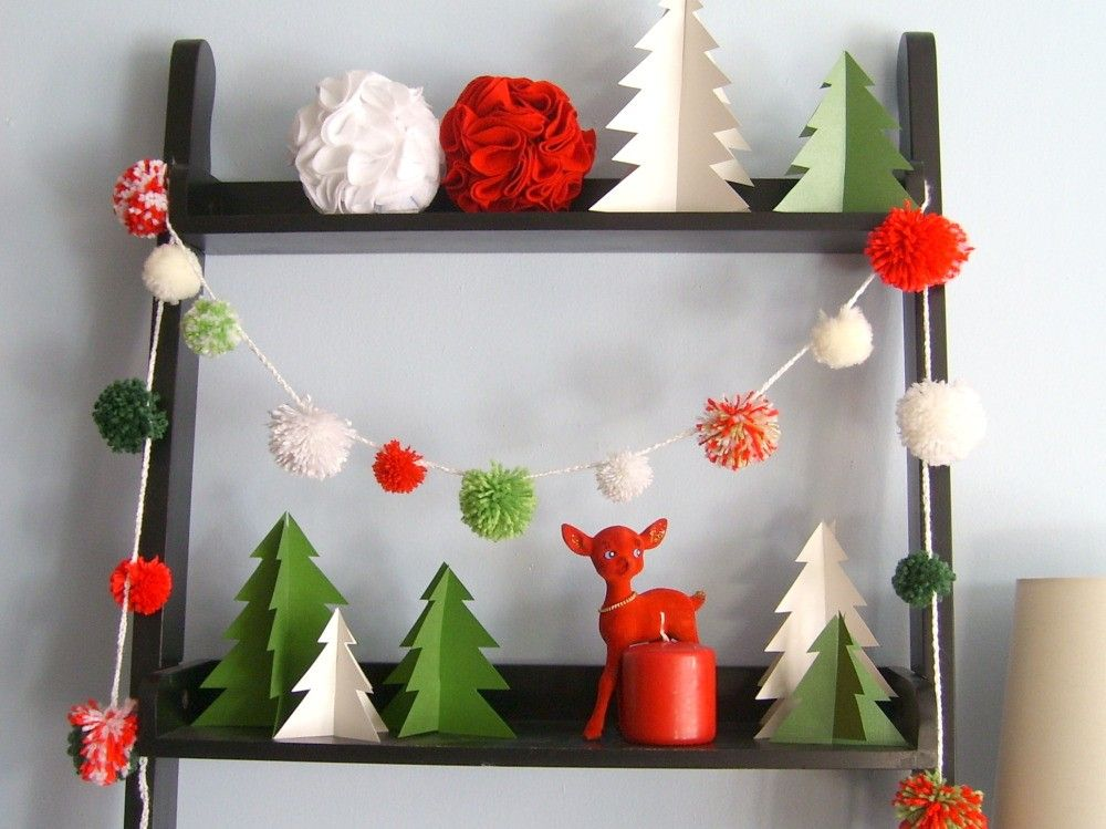 christmas pom pom garland eight feet of fluffy by hautecinq